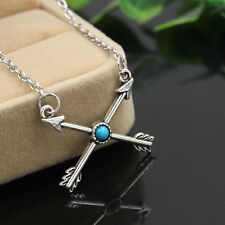 Bohemia Turquoise Tibetan Silver Necklace Cupid Arrow Cross Pendant Chain Gypsy