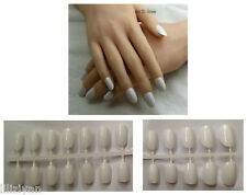 White 24 Pcs Sweet Candy beach Round Head French False Fake Nails Art Full Tips