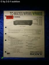 Sony Service Manual TC WR565 / WR665S / WA7ES  Cassette Deck (#1152)
