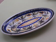 VINTAGE P.Y Q.2 QUIMPER FAIENCE KERALUE FRANCE HAND PAINTED OVAL POTTERY DISH