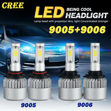 4PCS Combo CREE COB 9005 9006 LED 320W 32000LM Headlight Kit Beam 6500K White