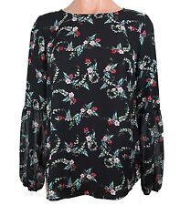 Women's Floral Red Sequin Blouse Top in Black Disney by Lauren Conrad Size S New