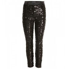 Dolce & Gabbana Black Sequined Dress Pants Size 44 IT, 8 U.S, 12 U.K, 40 FR. NWT