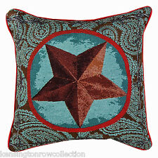 """THROW PILLOWS - """"WESTERN STAR"""" TAPESTRY PILLOW - BLUE - 17"""" SQUARE - RANCH"""