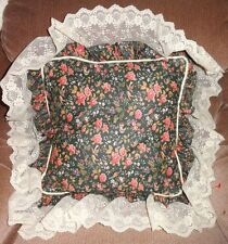 Rose Floral Birds Red Blue Pillow Throw Square White Piping Lace Ruffle Cushion