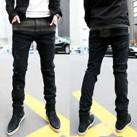 Street Style Mens Boys Korean Fashion Designed Slim Fit Casual Long Pants Jeans