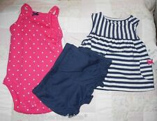 Carter's Girls Newborn 3 PC~Navy Striped Blue & Pink Short Set + 5-8 pounds NWT