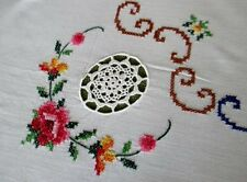 PRETTY TABLECLOTH HAND EMBROIDERED TINY CROSS STITCH+NAPS-UNUSED