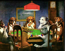 """Poster for Dogs Playing Poker-Vintage Canvas Art Print Art Silk Fabric 17x13"""""""