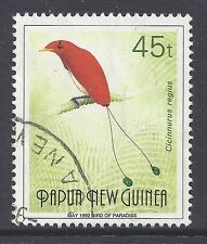1992 PAPUA NEW GUINEA 45t BIRD OF PARADISE INSCRIBED MAY 1992 FINE USED SCARCE