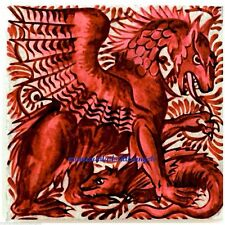 "ART CRAFTS WILLIAM DE MORGAN RED DRAGON b LARGE CERAMIC 20cm 8"" WALL TABLE TILE"
