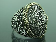 Turkish Handmade Ottoman Style 925 Sterling Silver Vav Design Men's Ring Sz 12