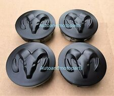 NEW DODGE WHEEL CENTER CAP RAM DURANGO DAKOTA MATTE BLACK 52013985AA SET OF 4