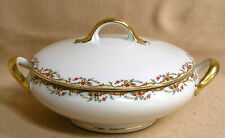Antique Vignaud Limoges The Meuse c1920's Covered Vegetable Bowl Red/Yellow/Gold