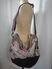 LUCKY BRAND Canvas and Suede Leather Hobo Handbag