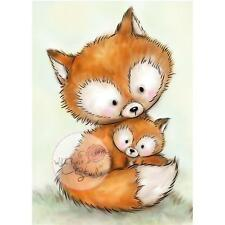 New Wild Rose Studio Clear cling rubber stamp MUMMY FOX & BABY MOM Free us shp
