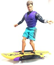 "Mattel 1998 Secret Agent Max Steel 12"" Articulated Action Figure + Surfboard"
