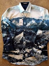 $199 Bugatchi Uomo Shaped Fit Casual Shirt Mens S Teal Alpine Print NWT WOW!