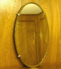 Vintage Oval Beveled Glass Mirror with Fantastic Old Deco Clips