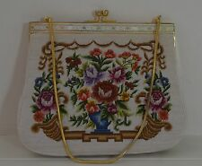 CHARMING VINTAGE PETIT POINT PURSE BAG SATCHEL PP798
