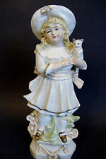 "Porcelain Figurine Marked 9796  *Girl with Kitten* - 10 1/2""H (7167)"