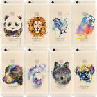 Painted Funny Cute Watercolor Animal TPU Soft/Hard Mobile Phone Case Cover Gift