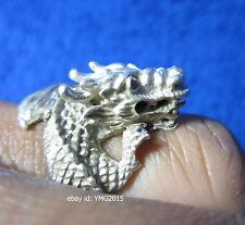 Vintage Men's GOTHIC DRAGON Silver Cabinet Ring Talisman & Collectible US# 7.0