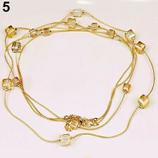 Women's Attractive Rhinestones Beads 2 Layers Golden Alloy Chain Long Necklace