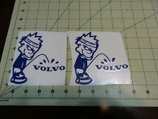 2 x Scania Calvin pissin on Volvo truck truckers decal vinyl sticker