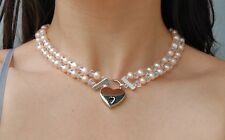 Genuine Pink Pearl Sterling End Swarovski Crystal Locking BDSM Slave Day Collar