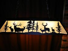 X Large Laser cut Steel Elk & Mule Deer Pool Table Light Lamp hunt cabin  BLACK