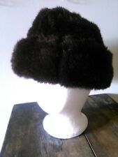 Vtg Cossack Coarse Fur Winter Russian Hat Dark Chocolate Brown Stewardess Shape