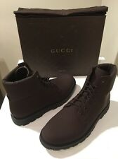 New Gucci Gommato Brown Leather Laced Urban Boots UK Sz 10.5 / US Sz 11 ��������