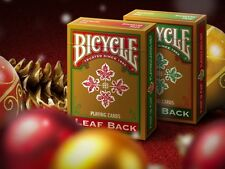 SET OF 2 BICYCLE LEAF BACK GREEN & RED PLAYING CARDS GOLD EDITION NEW CHRISTMAS