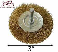 "3"" WIRE WHEEL BRUSH BRASS 6MM SHANK CLEAN RUST PAINT DRILL POLISH BUFF GRINDER"