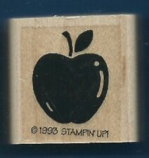 APPLE FRUIT STEM LEAF Gift Tag Fun Card Stampin' Up! 1993 Wood RUBBER STAMP