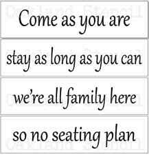 Wedding STENCIL*Come as you are #2* Set of 4 stencils for Signs Pallets Fabric