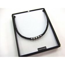 Men's Black Genuine LEATHER and Stainless Steel NECKLACE in Gift Box B