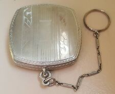 vtg 30s ART DECO etched silver-tone Rouge+Powder dance compact with finger chain
