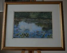 Signed Listed Artist Pastel of Water Lillies Flowers in Wild Nature Reserve Pond