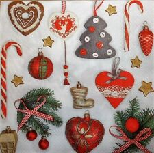 4 x single PAPER NAPKINS CHRISTMAS VINTAGE DECORS  DECOUPAGE  CRAFTING 64