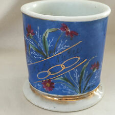 "Vintage Full Wrap Floral Shaving Mug Inscribed ""B. B. Bolie"" Hyres B.R. Co."