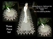 "Set 54"" Dresser Scarf Table Runner + Two Doilies FEATHER LACE Neutral Earth Tone"