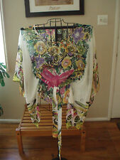 Mandee Hoho  hippie funky butterfly floral tie front sheer bat wing top Large