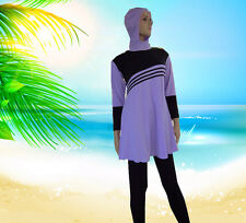 Women Swimsuit Modest Islamic Jewish Hindu Full Cover Purple Swimwear Clothes
