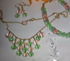 NECKLACE,EARINGS,BRACELET SET/PINK & GREEN &GOLD/gftbg.