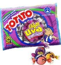 Totito Uva Goma De Mascar Chicles Grape Flavored Bubble Gum 100 Pcs 22.5oz