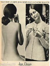 Publicité Advertising 1972 Parfums et sweaters Jean Dessès