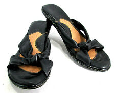 BORN Sandal Women's Black Leather Small Heel Crossover Knotted Strap Size 1