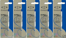 5 x Parker Quink Flow Ball Point Pen Refill + Blue ink + Medium 1mm Tip New